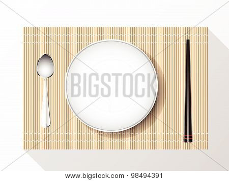 Empty White Plate Set With Chopsticks On A Bamboo Cover. Vector Illustration.