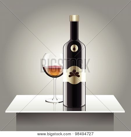 Realistic Vector Bottles. Glass And Reflection Luxury Style With Wall Standing.