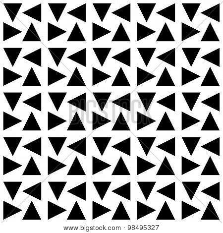 Black And White Geometric Seamless Pattern With Triangle, Abstract Background.