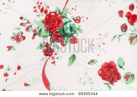 Vintage Rose Paint On Fabric Background