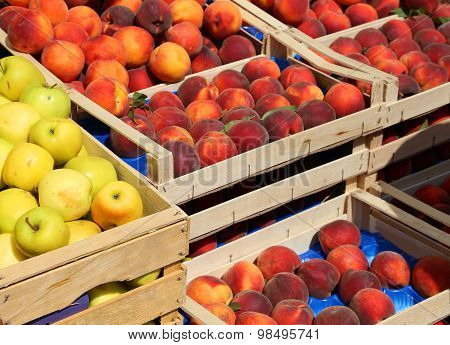Apples And Peaches For Sale At Market Fruit In Summer
