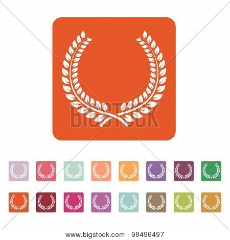 The laurel wreath icon. Prize and reward, honors symbol. Flat