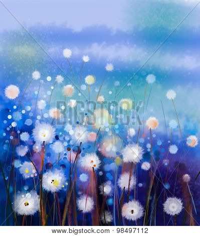 Abstract oil painting white flowers field in soft color poster abstract oil painting white flowers field in soft color poster mightylinksfo