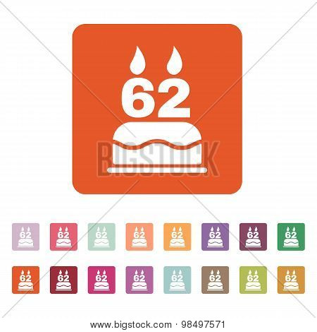 The birthday cake with candles in the form of number 62 icon. Birthday symbol. Flat