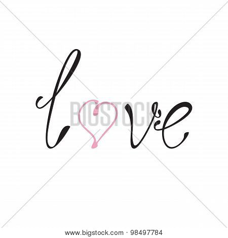 Love And Heart Lettering
