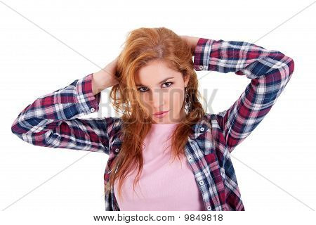 Beautiful Young Woman, Holding Her Hair With His Hand, Isolated On White Studio Shot