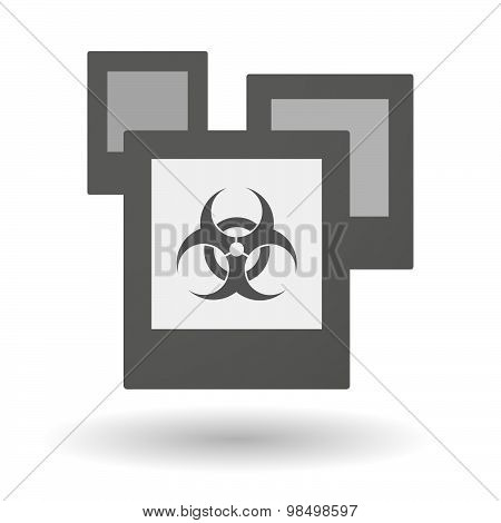 Isolated Group Of Photos With A Biohazard Sign
