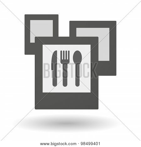 Isolated Group Of Photos With Cutlery