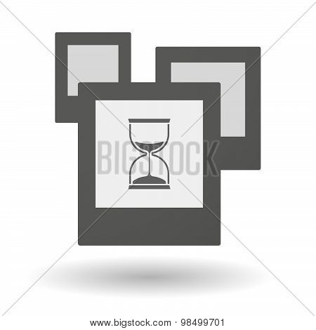 Isolated Group Of Photos With A Sand Clock