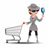 Постер, плакат: Mystery shopper woman in spy coat with shopping cart