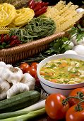 pic of vegetable soup  - a bowl of fresh soup surrounded by all the ingredients - JPG