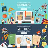 School and education, reading and writing concept banner set. Flat design vector illustration backgr poster
