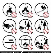 ������, ������: Set of open fire prohibition signs Collection of prohibition signs Open fire banned No lighting f