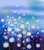 Abstract Oil Painting White Flowers Field In Soft Color poster