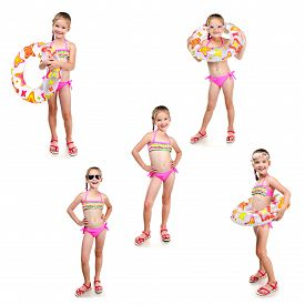 picture of little girls photo-models  - Collection of photos cute little girl with swimming ring in sunglasses isolated on a white - JPG