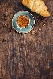 stock photo of continental food  - Cup of espresso with croissant - JPG