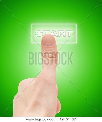 "Man finger push ""start"" button"