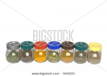 Jars With Various Spices (Fenugreek,Allspice Tree, Turmeric, Cardamom, Curry)