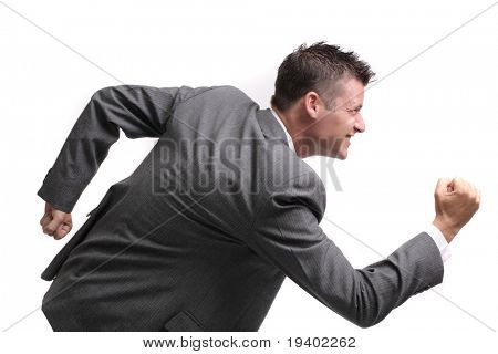 rat race! - attractive young business man ready to compete. isolated on white background, lots of copyspace.