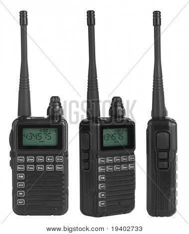Portable radio sets isolated on white background