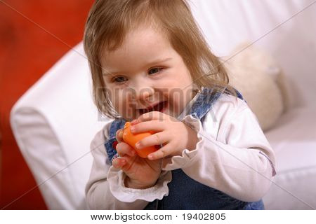 A sweet little girl not quite 2 years old with Downs Syndrome