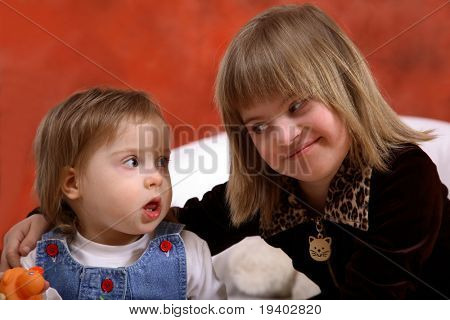 Two young girls with Down's Syndrome