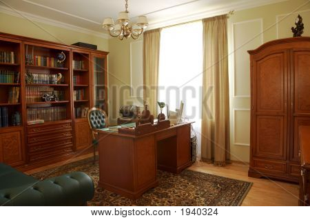 Bookcase, Table And Chair