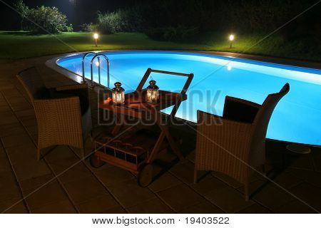 Pool and garden by night