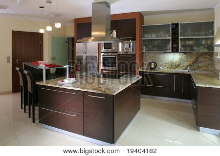 Vista de una cocina moderna