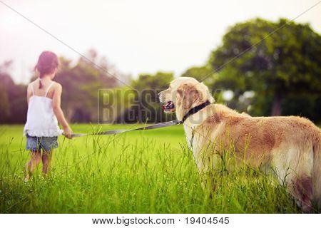 Young girl with golden retriever walking away into sun