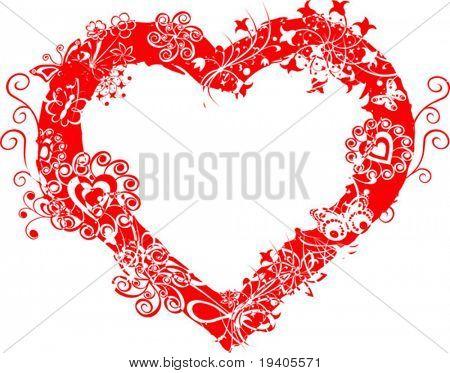Grunge valentine frame, heart, vector