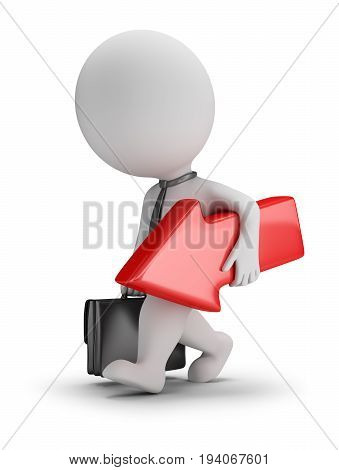 3d small businessman comes with a red arrow in hands. 3d image. White background.