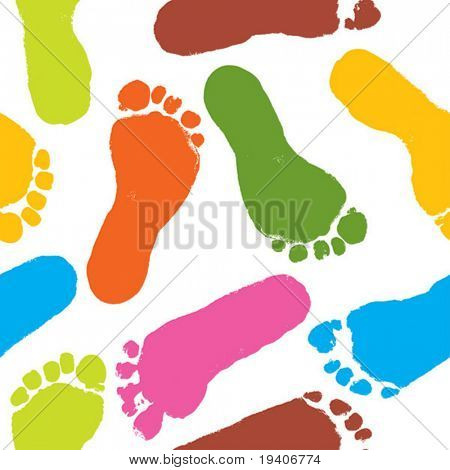 Seamless pattern, prints of foots of the child, vector illustration