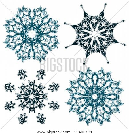 Floral snowflakes, set, element for design vector illustration
