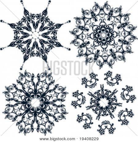 Floral snowflakes, set, element for design, vector illustration