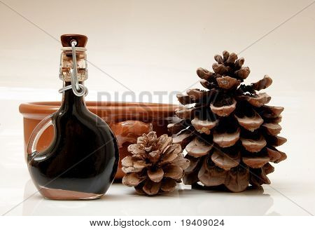 Balsamic vinegar, earthenware bowl and pine-cones