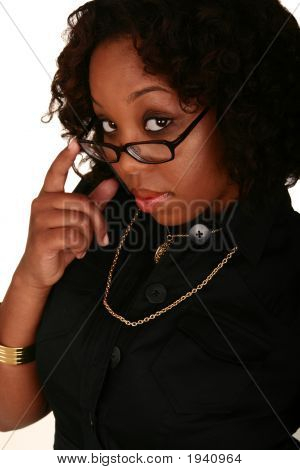 African American Girl Pull Down Her Reading Glasses