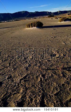 Dry salt lake - desert landscape -global warming, climate change
