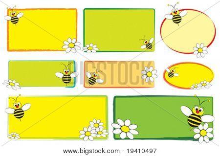 Kind-Labels mit einer Biene und weiße Gänseblümchen - Etiketten für Kinder