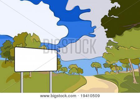 Landscape - Rural road vector illustration with blank billboard