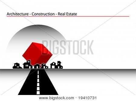 Brochure Cover - Business Card: Architecture, construction, real estate company