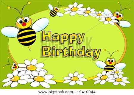 Bee and flowers - Birthday Card for kids