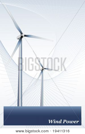 Wind power illustration, green energy