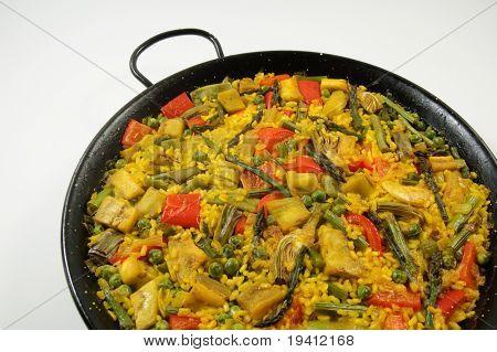 traditionellen spanischen Reis: Paella und Gemüse Vegetarier-Rezept