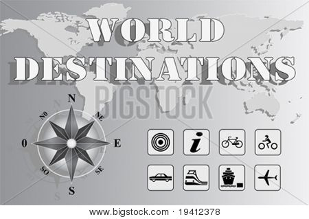 World map with compass rose and travel icons - World Destinations