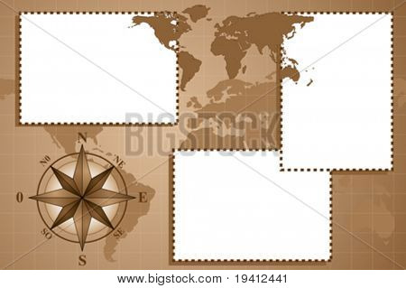 Scrapbook with map world and compass rose, vintage style