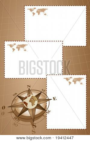 Scrapbook with map world, globe and compass rose, vintage style