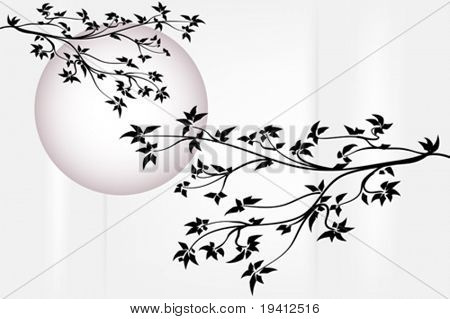 Silhouette tree with purple moon - Japanese style
