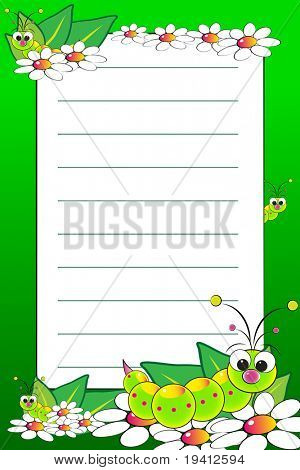 Kid notebook page with grubs and white daisies - Lined page for children