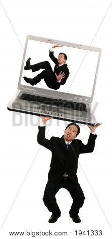 Holding Up Laptop With Trapped Coworker 2